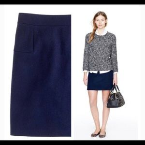 • J Crew Blue Mini Felted Wool Skirt •